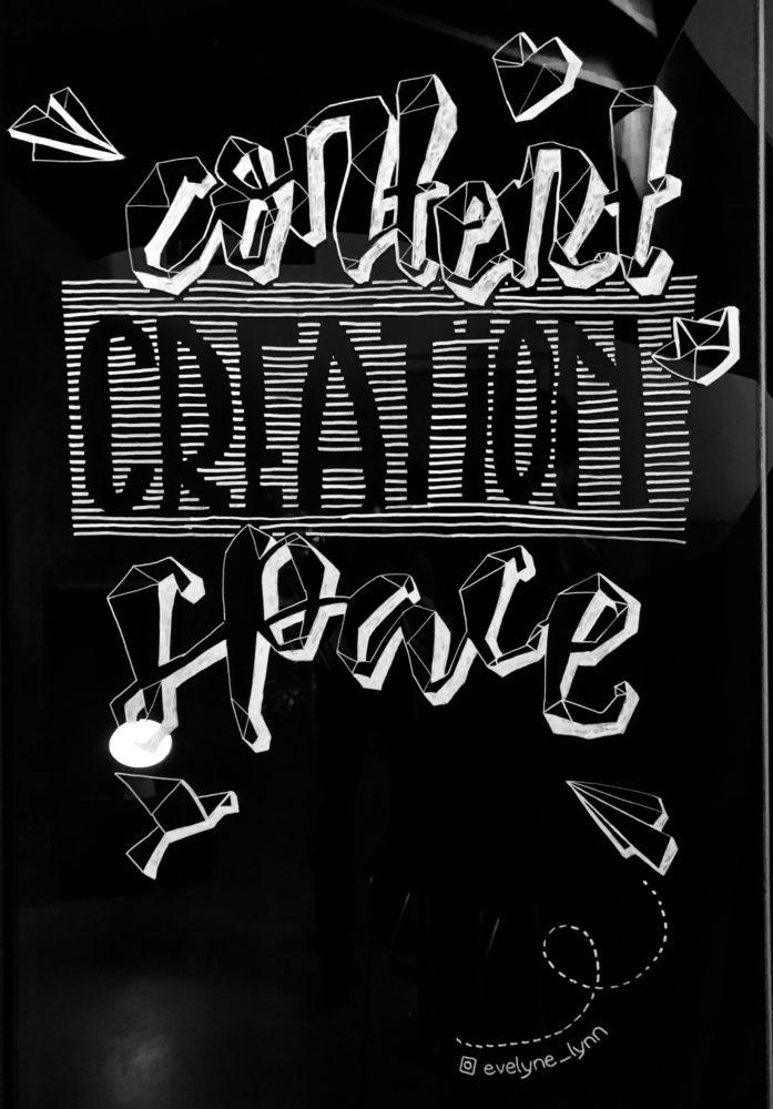 Das Kunstwerk von Evelyne - Ein Schriftzug zum Content Creation Space